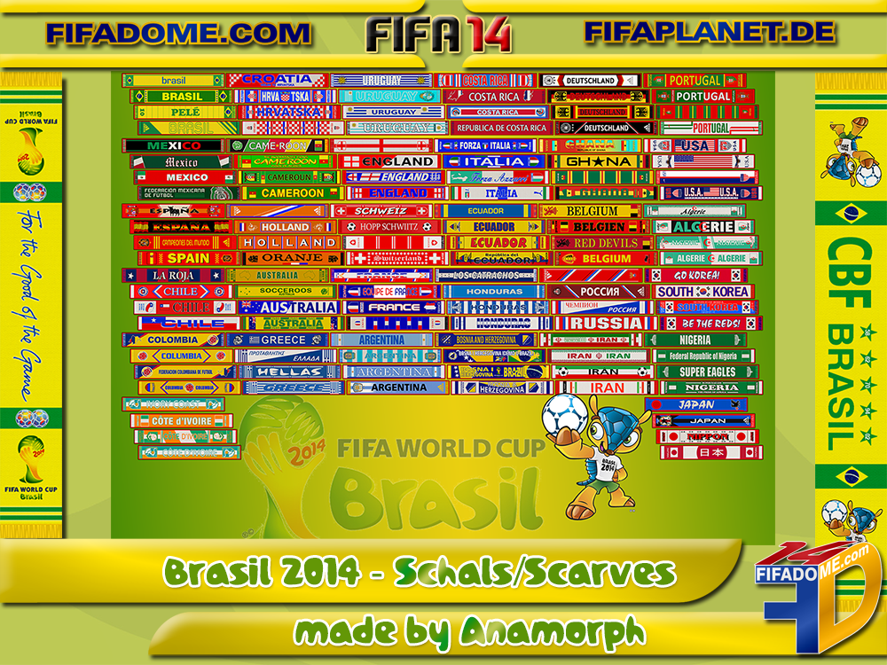 Дата. Патчи. 358. World Cup 2014 National Teams Scarf Patch by Anamorph д
